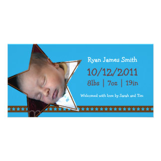 Birth Announcement with a Blue and Star Theme Photo Card