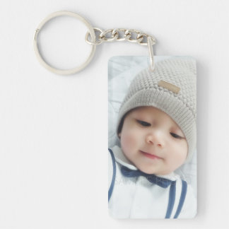 Birth Announcement with Custom Newborn Baby Photo Double-Sided Rectangular Acrylic Key Ring