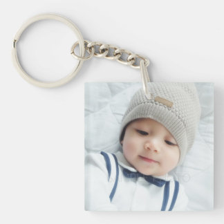 Birth Announcement with Custom Newborn Baby Photo Double-Sided Square Acrylic Key Ring