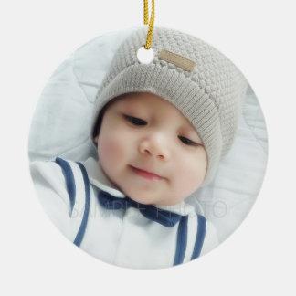 Birth Announcement with Custom Newborn Baby Photo Round Ceramic Decoration