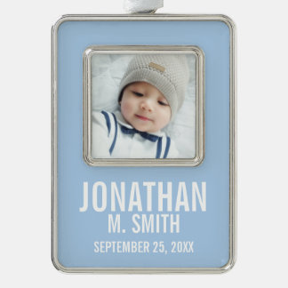 Birth Announcement with Custom Newborn Baby Photo Silver Plated Framed Ornament