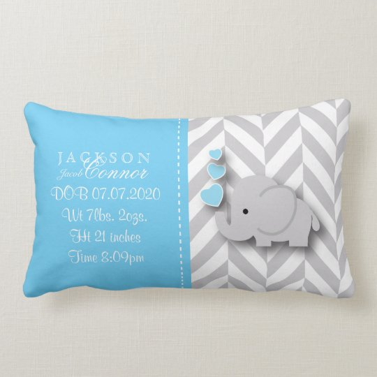 Birth Information - Baby Boy Elephant Lumbar Cushion