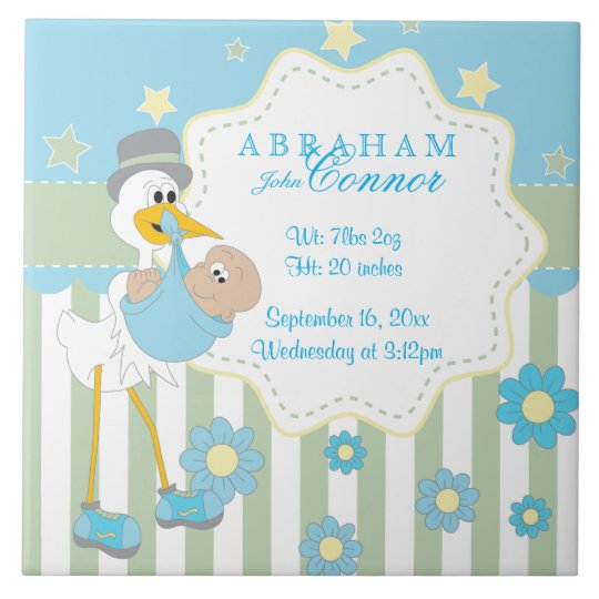 Birth Information - Blue Baby Boy Stork Tile