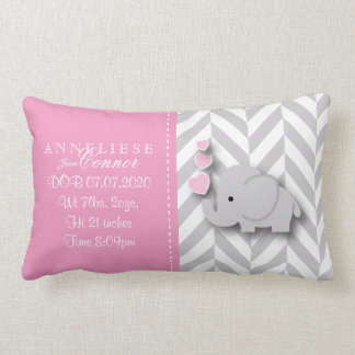 Birth Information - Pastel Baby Elephant Lumbar Cushion