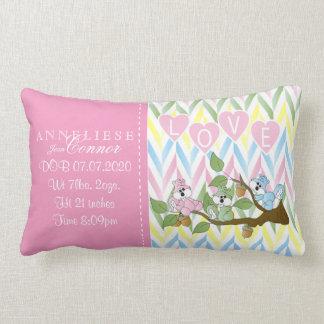 Birth Information - Pastel Baby Squirrels Lumbar Cushion