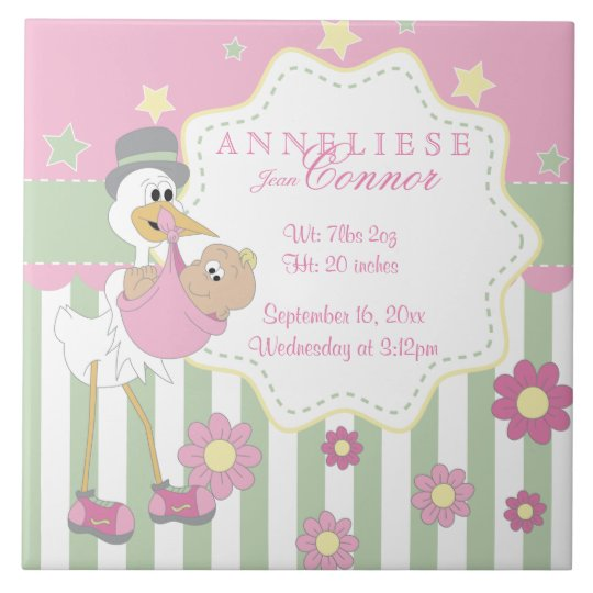 Birth Information - Pink Baby Girl Stork Large