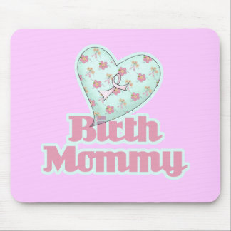 Birth Mommy Pink Ribbon Heart Mouse Pad