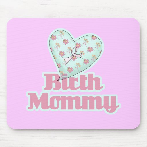 Birth Mommy Pink Ribbon Heart Mouse Pads