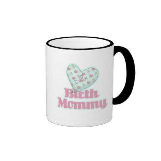 Birth Mommy Pink Ribbon Heart Mugs