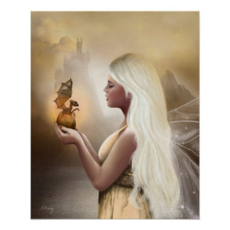 Birth of a Dragon - Fantasy fairy poster print