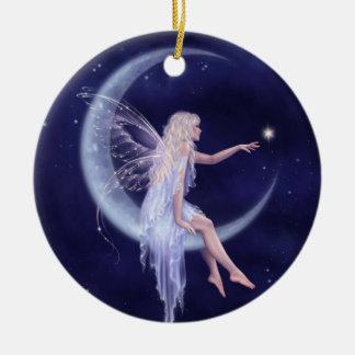 Birth of a Star Moon Fairy Ceramic Ornament