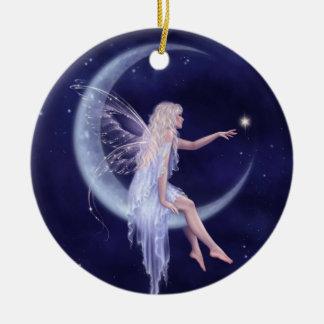 Birth of a Star Moon Fairy Ceramic Ornament
