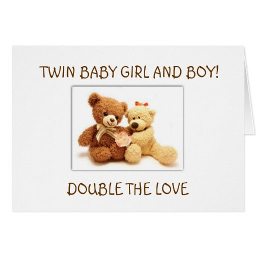 BIRTH OF BABY GIRL AND BABY BOY TWINS CARDS
