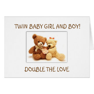 BIRTH OF BABY GIRL AND BABY BOY TWINS GREETING CARD