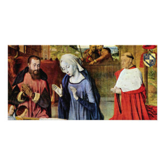 Birth Of Christ And The Cardinal Rolin By Jean Hey Photo Card Template