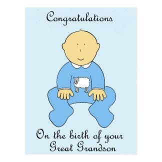 Birth of great grandson, congratulations. postcard