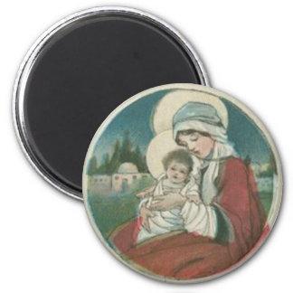 Birth of Jesus Christmas Greetings 6 Cm Round Magnet