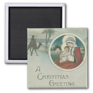 Birth of Jesus Christmas Greetings Square Magnet