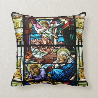 Birth of Jesus Stained Glass Window Cushion