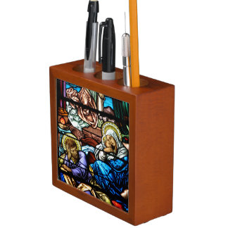 Birth of Jesus Stained Glass Window Desk Organiser