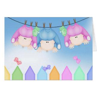 Birth of Triplets Greeting Card