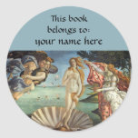 Birth of Venus by Sandro Botticelli Bookplate Stickers