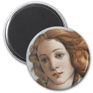 Birth of Venus close up head 6 Cm Round Magnet