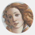 Birth of Venus close up head Classic Round Sticker
