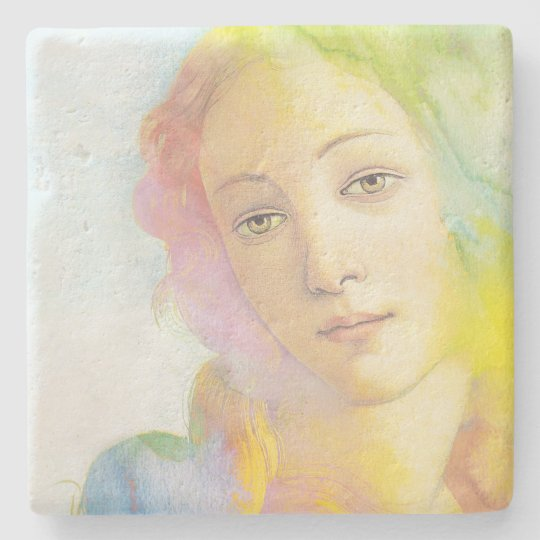Birth of Venus with Watercolor Hair Stone Coaster
