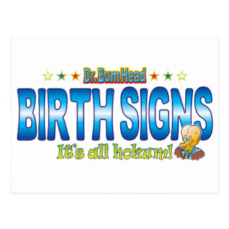 Birth Signs Dr. B Head Postcard