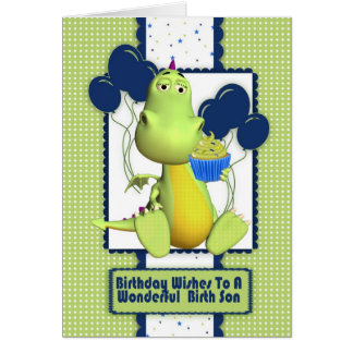 birth son greeting card with cute little dragon