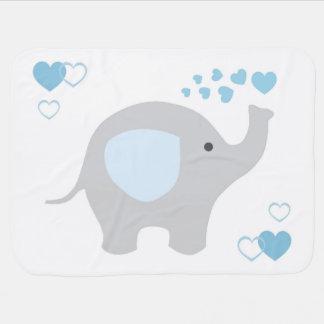 Birth Stats Baby Boy Elephant Nursery Blue Grey Baby Blankets