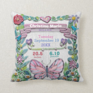 Birth Stats Baby Girl Butterfly with Flowers Cushion
