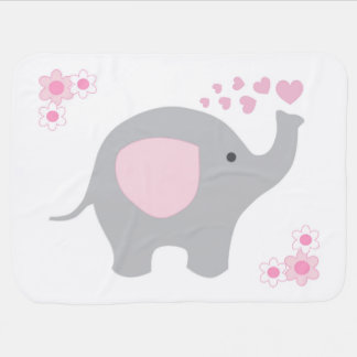 Birth Stats Baby Girl Elephant Pink Grey Gray Buggy Blankets