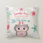 Birth Stats Baby Girl Forest Creature Pink Owl Cushion