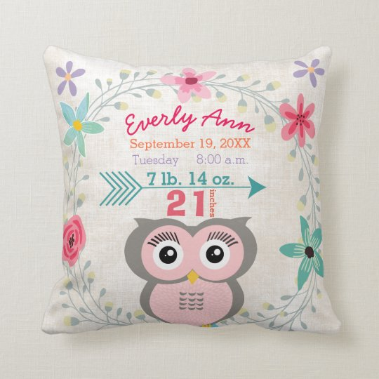 Birth Stats Baby Girl Forest Creature Pink Owl