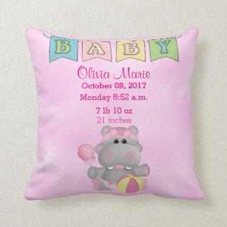 Birth Stats Baby Girl Hippo Cushion