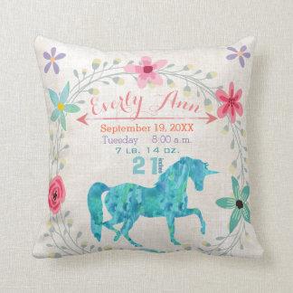 Birth Stats Baby Girl Magical Creatures Unicorn Cushion