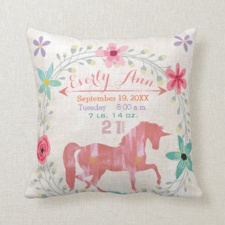 Birth Stats Baby Girl Magical Creatures Unicorn Cushion