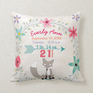 Birth Stats Baby Girl Woodland Creatures Fox Cushion