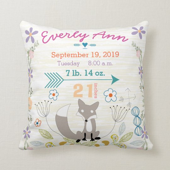 Birth Stats Baby Girl Woodland Creatures Fox Throw