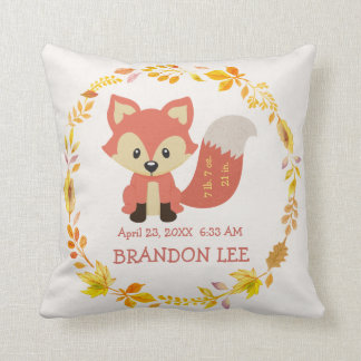 Birth Stats Baby | Woodland Forest Nursery Fox Cushion