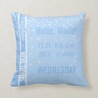 Birth Stats | Blue Baby Boy Fleur De Lis NOLA Throw Pillow
