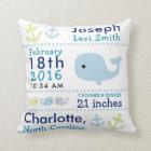 Birth Stats Nautical Whale Nursery Throw Pillow