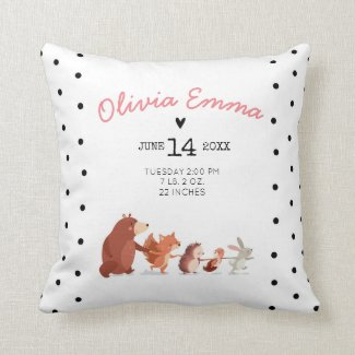 Birth Stats Woodland Cushion