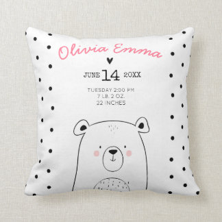 Birth stats Nursery Throw pillow Woodland Forest
