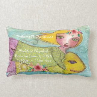 Birth Stats Pillow Baby Girl  Welcome Love
