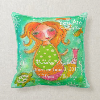 Birth Stats Pillow One Of A Kind Mermaid Baby