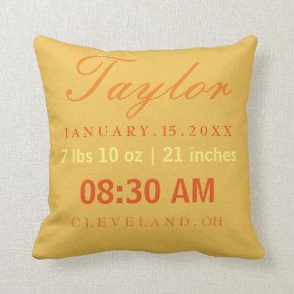 Birth Stats Typography Yellow & Orange Throw Pillow