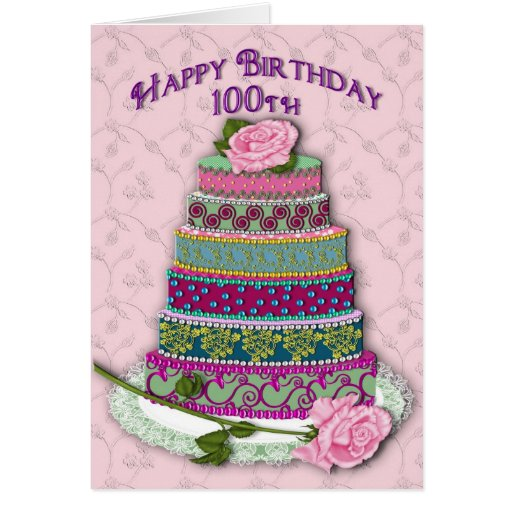 BIRTHDAY - 100th -  ROSES ON DECORATED CAKE Greeting Card